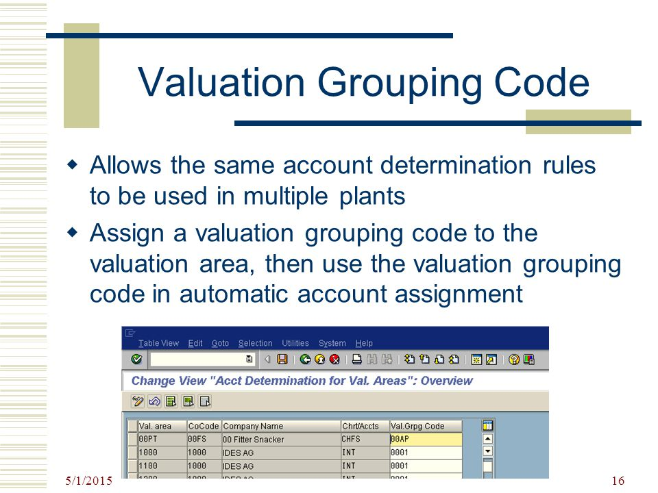 5/1/2015 16 Valuation Grouping Code  Allows the same account determination rules to be used in multiple plants  Assign a valuation grouping code to
