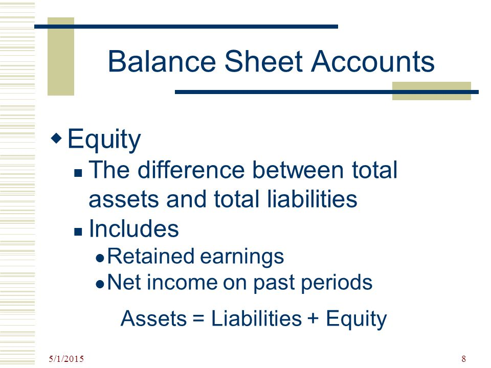 5/1/2015 8 Balance Sheet Accounts  Equity The difference between total assets and total liabilities Includes Retained earnings Net income on past per