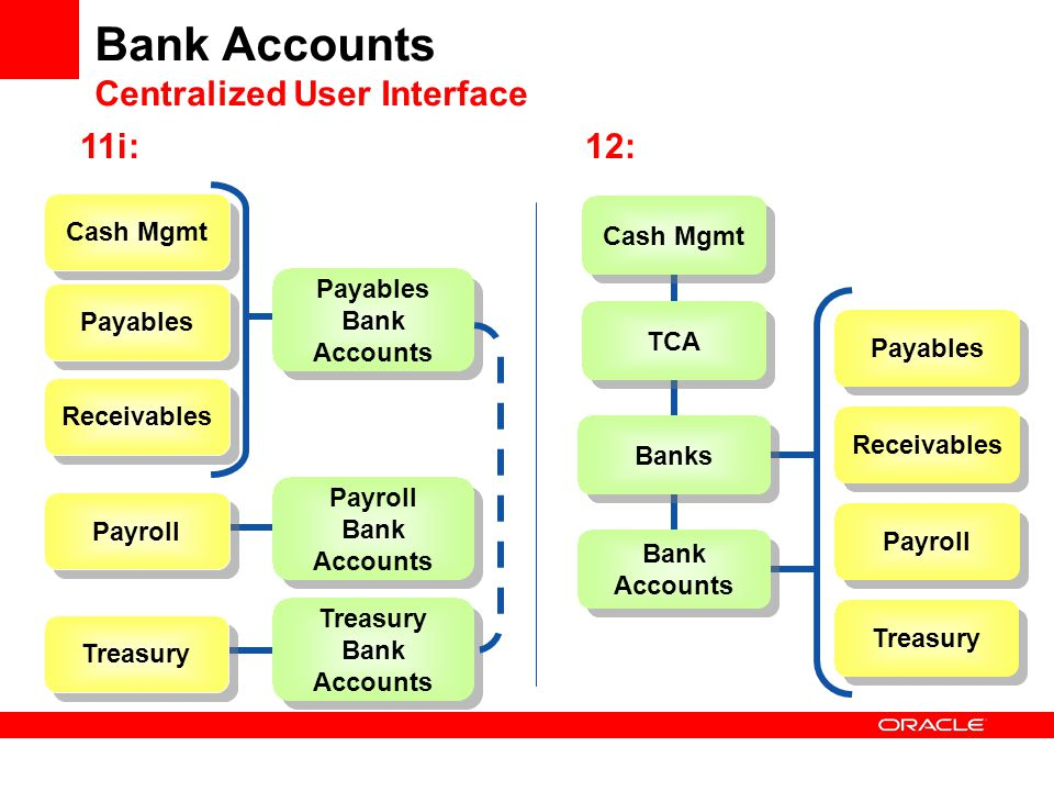 Cash Mgmt Bank Accounts Centralized User Interface Treasury Payables Receivables Payroll Payables Bank Accounts Cash Mgmt Payroll Payroll Bank Account