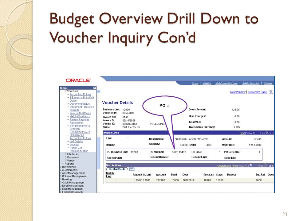 Budget Overview Drill Down to Voucher Inquiry Con'd 21