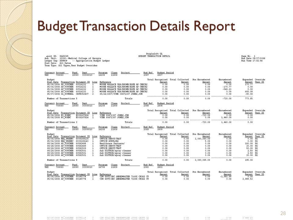 Budget Transaction Details Report 28