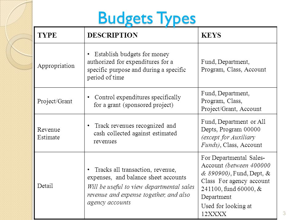 TYPEDESCRIPTIONKEYS Appropriation Establish budgets for money authorized for expenditures for a specific purpose and during a specific period of time Fund, Department, Program, Class, Account Project/Grant Control expenditures specifically for a grant (sponsored project) Fund, Department, Program, Class, Project/Grant, Account Revenue Estimate Track revenues recognized and cash collected against estimated revenues Fund, Department or All Depts, Program 00000 (except for Auxiliary Funds), Class, Account Detail Tracks all transaction, revenue, expenses, and balance sheet accounts Will be useful to view departmental sales revenue and expense together, and also agency accounts For Departmental Sales- Account (between 400000 & 890900), Fund, Dept, & Class For agency account 241100, fund 60000, & Department Used for looking at 12XXXX Budgets Types 3