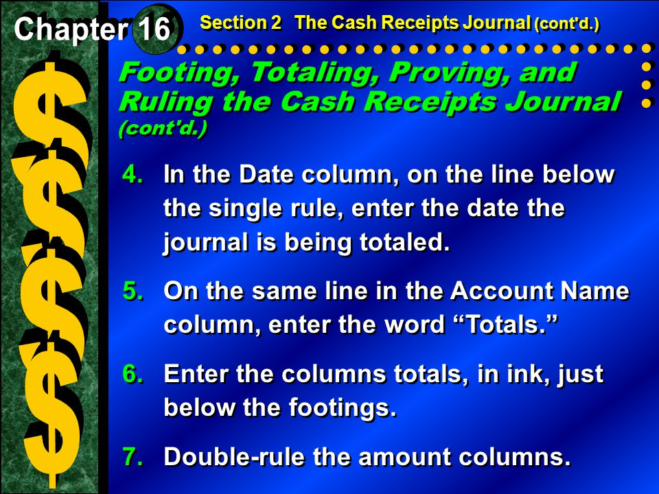 Footing, Totaling, Proving, and Ruling the Cash Receipts Journal (cont'd.) 4.In the Date column, on the line below the single rule, enter the date the