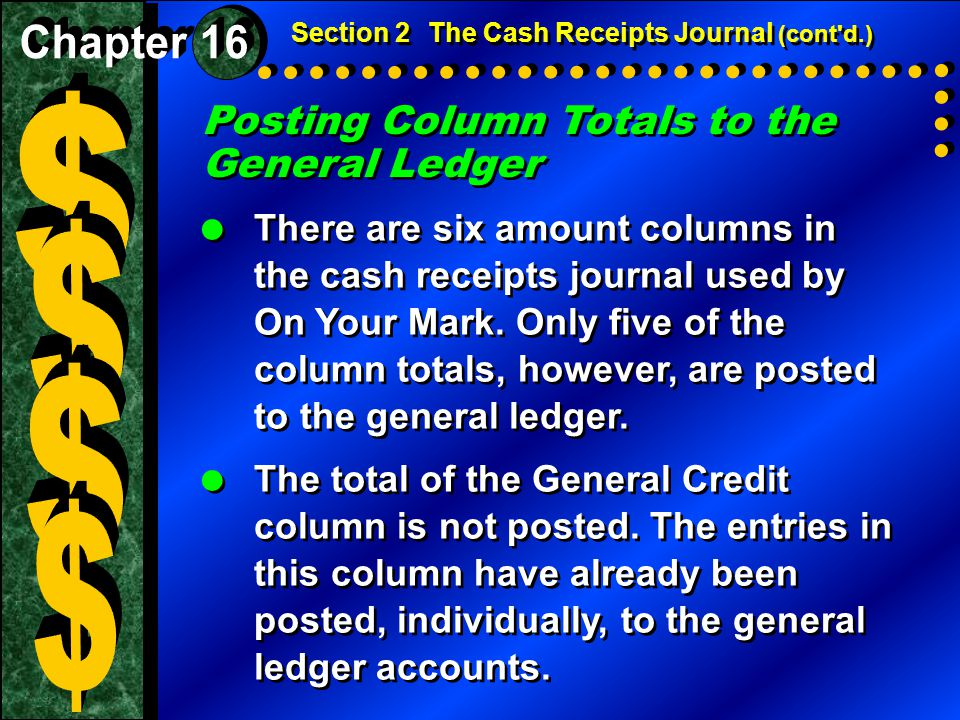 Posting Column Totals to the General Ledger  There are six amount columns in the cash receipts journal used by On Your Mark. Only five of the column