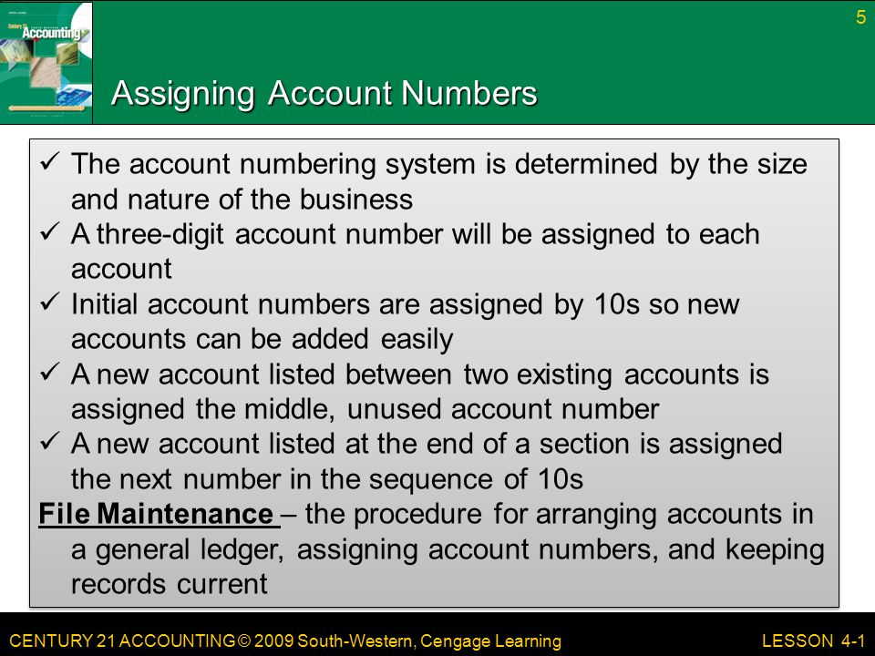 CENTURY 21 ACCOUNTING © 2009 South-Western, Cengage Learning Assigning Account Numbers 5 LESSON 4-1 The account numbering system is determined by the size and nature of the business A three-digit account number will be assigned to each account Initial account numbers are assigned by 10s so new accounts can be added easily A new account listed between two existing accounts is assigned the middle, unused account number A new account listed at the end of a section is assigned the next number in the sequence of 10s File Maintenance – the procedure for arranging accounts in a general ledger, assigning account numbers, and keeping records current The account numbering system is determined by the size and nature of the business A three-digit account number will be assigned to each account Initial account numbers are assigned by 10s so new accounts can be added easily A new account listed between two existing accounts is assigned the middle, unused account number A new account listed at the end of a section is assigned the next number in the sequence of 10s File Maintenance – the procedure for arranging accounts in a general ledger, assigning account numbers, and keeping records current