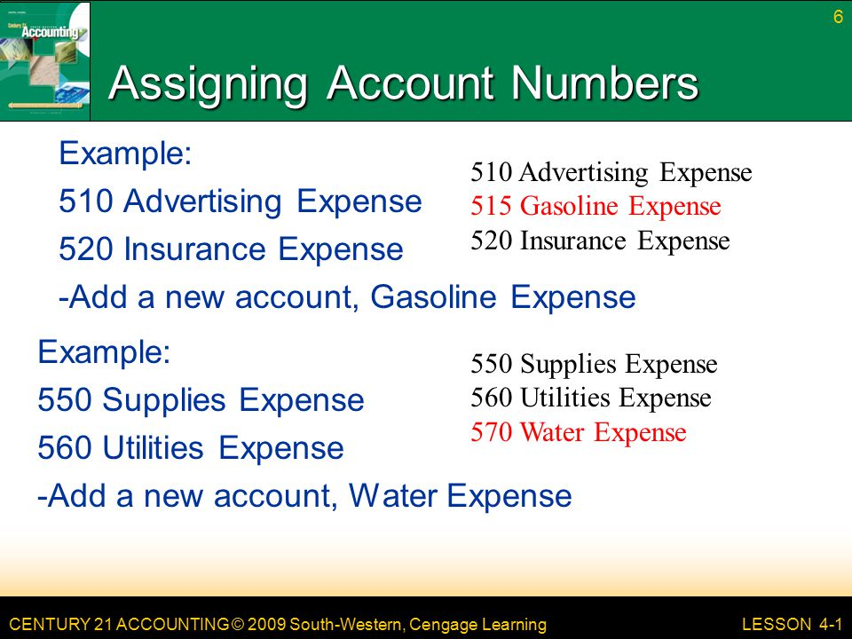CENTURY 21 ACCOUNTING © 2009 South-Western, Cengage Learning Assigning Account Numbers Example: 510 Advertising Expense 520 Insurance Expense -Add a new account, Gasoline Expense LESSON 4-1 6 510 Advertising Expense 515 Gasoline Expense 520 Insurance Expense Example: 550 Supplies Expense 560 Utilities Expense -Add a new account, Water Expense 550 Supplies Expense 560 Utilities Expense 570 Water Expense