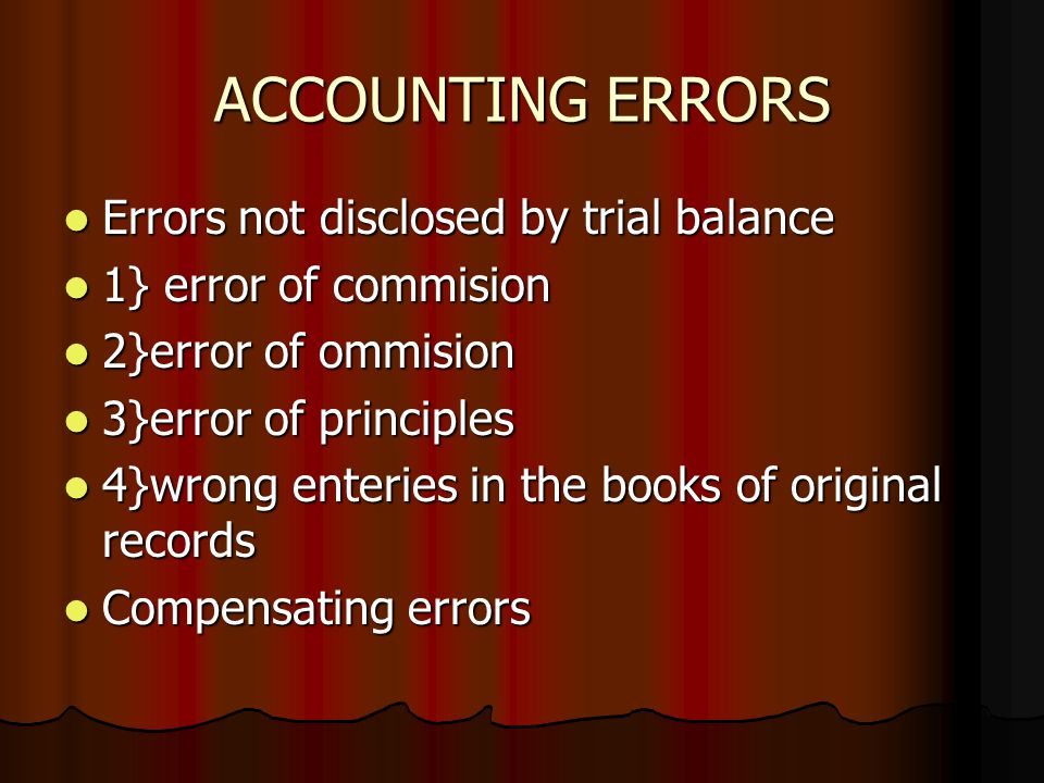 ACCOUNTING ERRORS Errors not disclosed by trial balance Errors not disclosed by trial balance 1} error of commision 1} error of commision 2}error of o