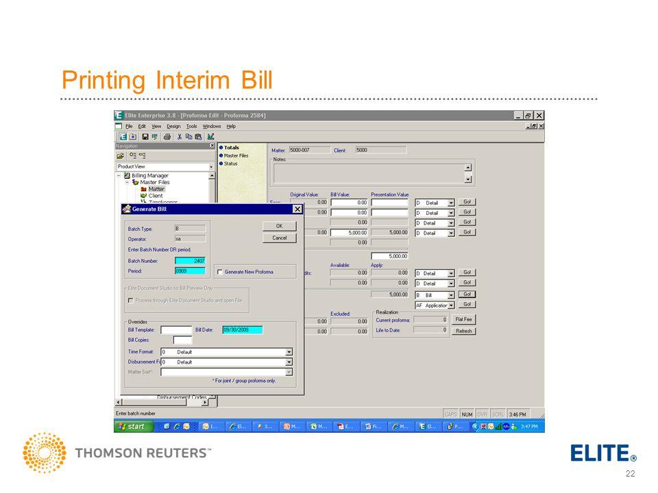 22 Printing Interim Bill