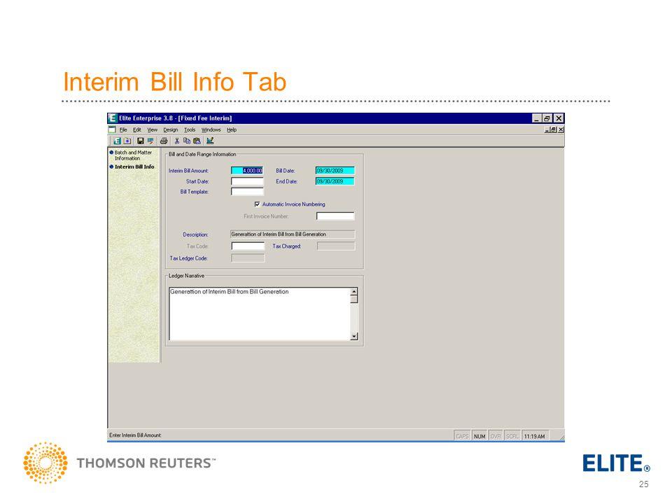 25 Interim Bill Info Tab