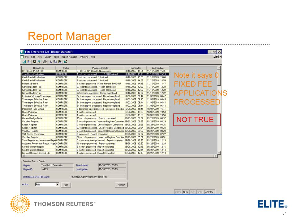 51 Report Manager Note it says 0 FIXED FEE APPLICATIONS PROCESSED NOT TRUE