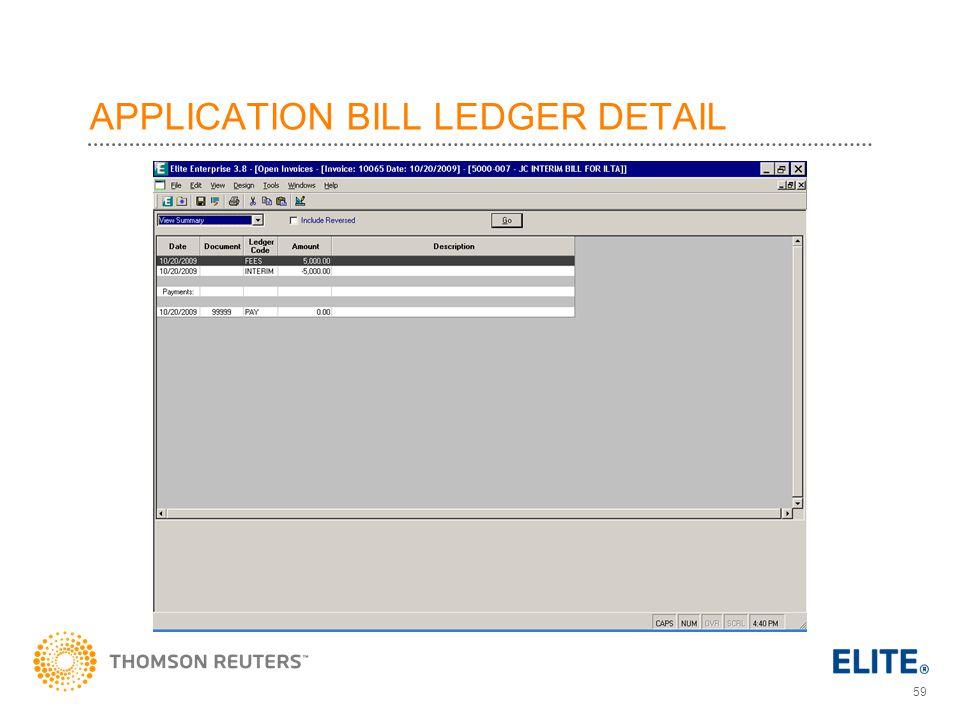 59 APPLICATION BILL LEDGER DETAIL