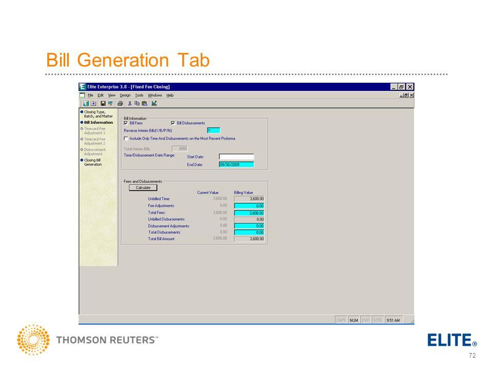 72 Bill Generation Tab