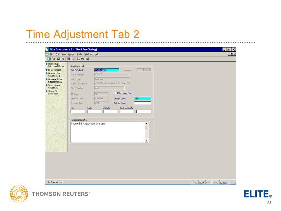 83 Time Adjustment Tab 2