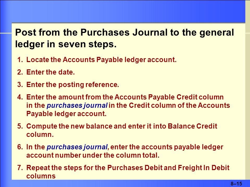 8–15 1.Locate the Accounts Payable ledger account.