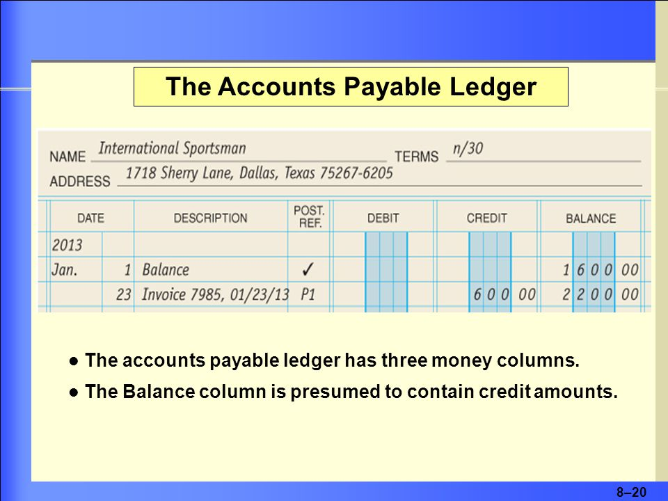 8–20 The Accounts Payable Ledger The accounts payable ledger has three money columns. The Balance column is presumed to contain credit amounts.