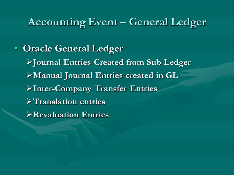 Accounting Event – General Ledger Oracle General LedgerOracle General Ledger  Journal Entries Created from Sub Ledger  Manual Journal Entries created in GL  Inter-Company Transfer Entries  Translation entries  Revaluation Entries