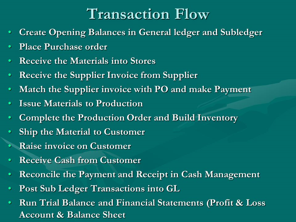 Transaction Flow Create Opening Balances in General ledger and SubledgerCreate Opening Balances in General ledger and Subledger Place Purchase orderPlace Purchase order Receive the Materials into StoresReceive the Materials into Stores Receive the Supplier Invoice from SupplierReceive the Supplier Invoice from Supplier Match the Supplier invoice with PO and make PaymentMatch the Supplier invoice with PO and make Payment Issue Materials to ProductionIssue Materials to Production Complete the Production Order and Build InventoryComplete the Production Order and Build Inventory Ship the Material to CustomerShip the Material to Customer Raise invoice on CustomerRaise invoice on Customer Receive Cash from CustomerReceive Cash from Customer Reconcile the Payment and Receipt in Cash ManagementReconcile the Payment and Receipt in Cash Management Post Sub Ledger Transactions into GLPost Sub Ledger Transactions into GL Run Trial Balance and Financial Statements (Profit & Loss Account & Balance SheetRun Trial Balance and Financial Statements (Profit & Loss Account & Balance Sheet