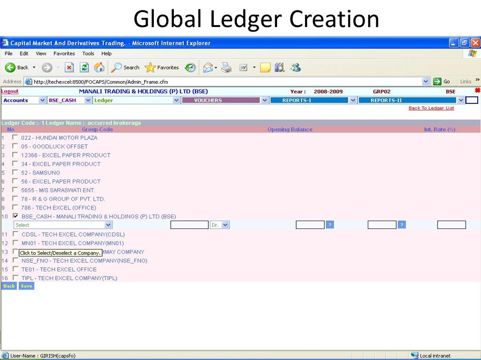 Global Ledger Creation