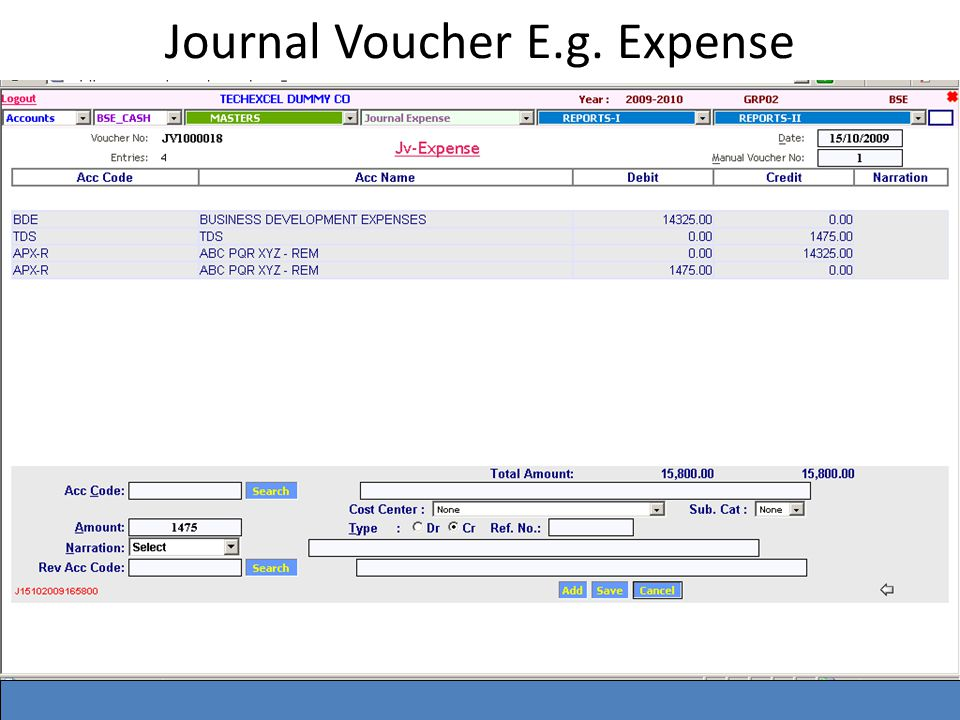 Journal Voucher E.g. Expense