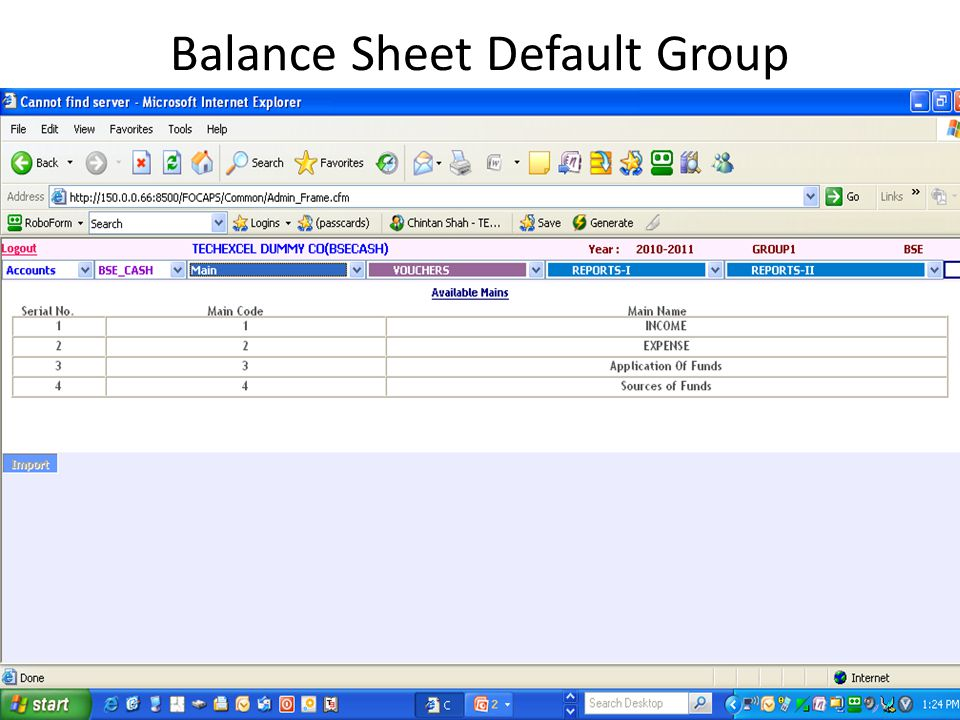 Balance Sheet Group Creation Click Add New Group Enter New Group Name Map to Main Code