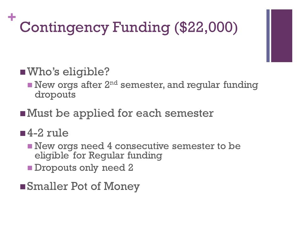 + Contingency Funding ($22,000) Who's eligible.
