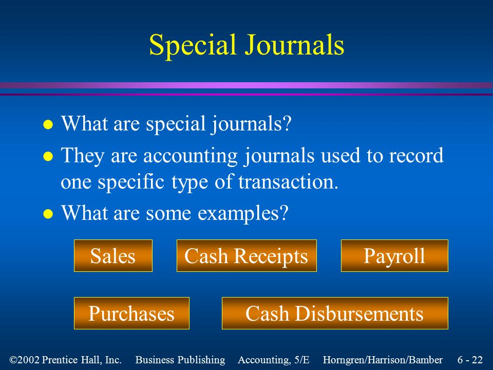 6 - 21 ©2002 Prentice Hall, Inc. Business Publishing Accounting, 5/E Horngren/Harrison/Bamber Objective 4 Use the sales journal, the cash receipts jou