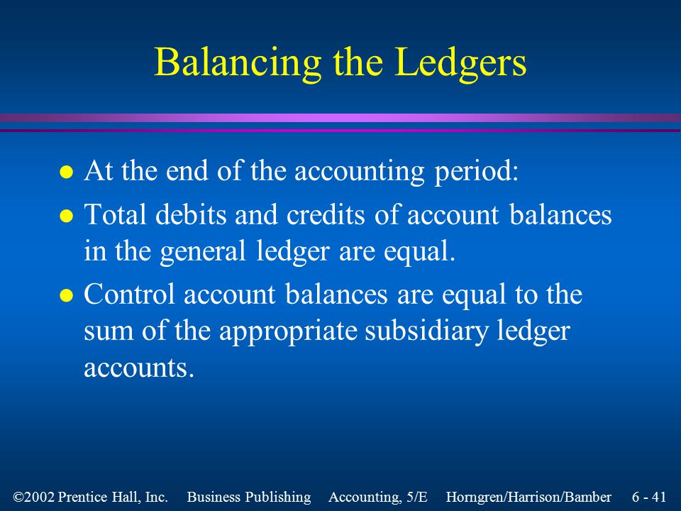 6 - 40 ©2002 Prentice Hall, Inc. Business Publishing Accounting, 5/E Horngren/Harrison/Bamber Purchase Returns and Allowances l A debit memorandum is