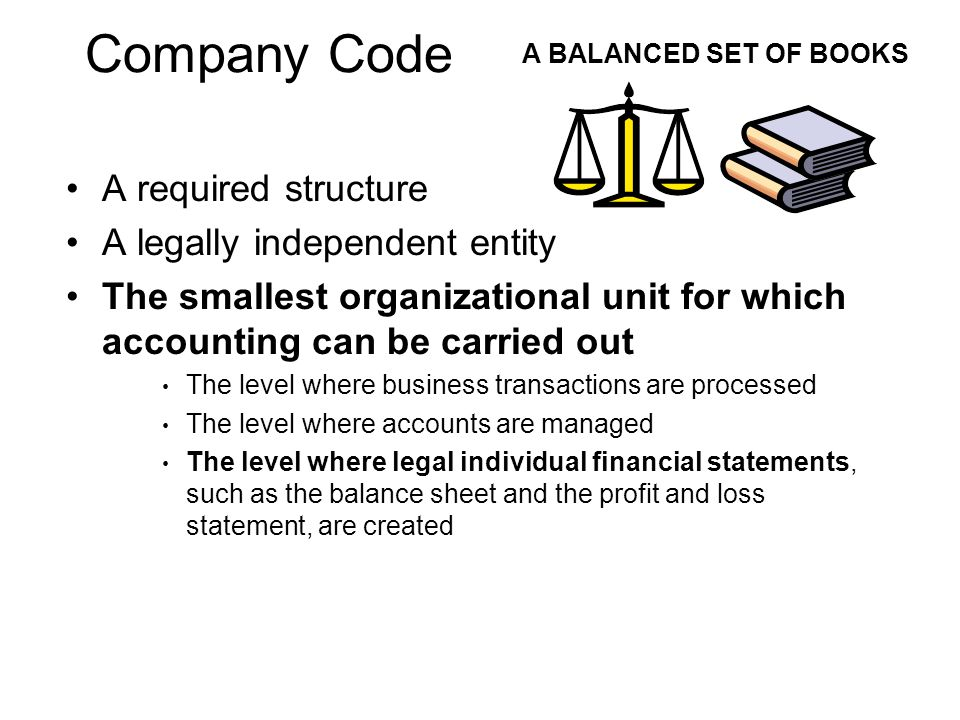 Company Code A required structure A legally independent entity The smallest organizational unit for which accounting can be carried out The level wher