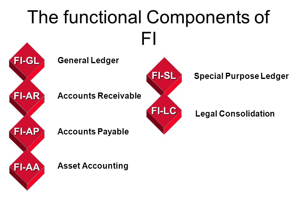 The functional Components of FI FI-GL FI-AR FI-AP FI-AA General Ledger Accounts Receivable Accounts Payable Asset Accounting FI-SL FI-LC Special Purpo
