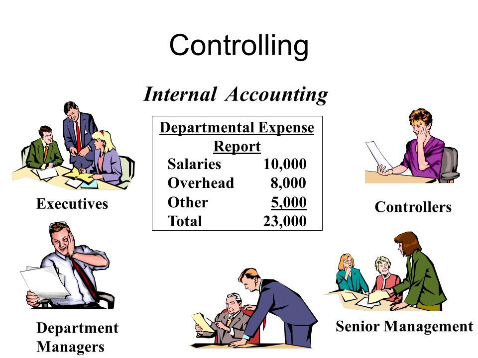Internal Accounting Departmental Expense Report Salaries10,000 Overhead 8,000 Other 5,000 Total23,000 Department Managers Controllers Executives Senior Management