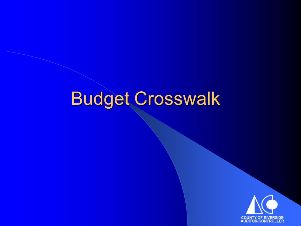 Budget Crosswalk