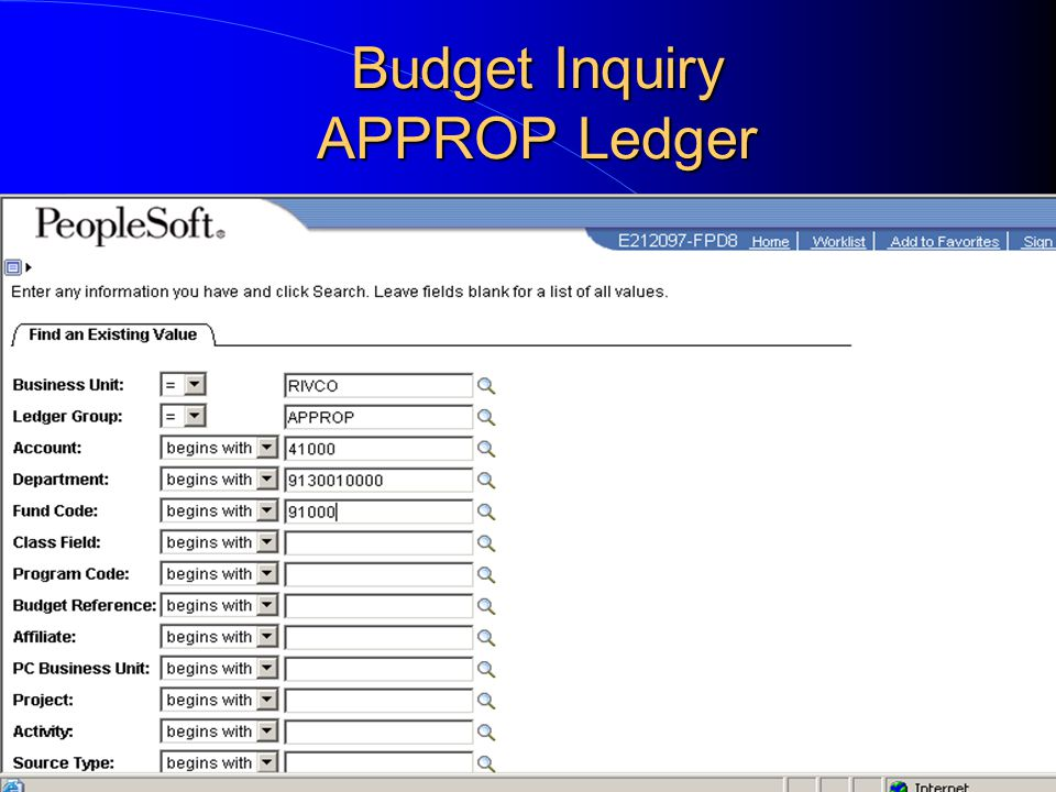 Budget Inquiry APPROP Ledger