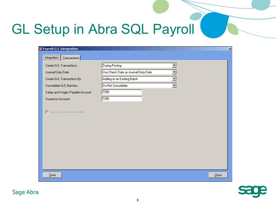 8 GL Setup in Abra SQL Payroll