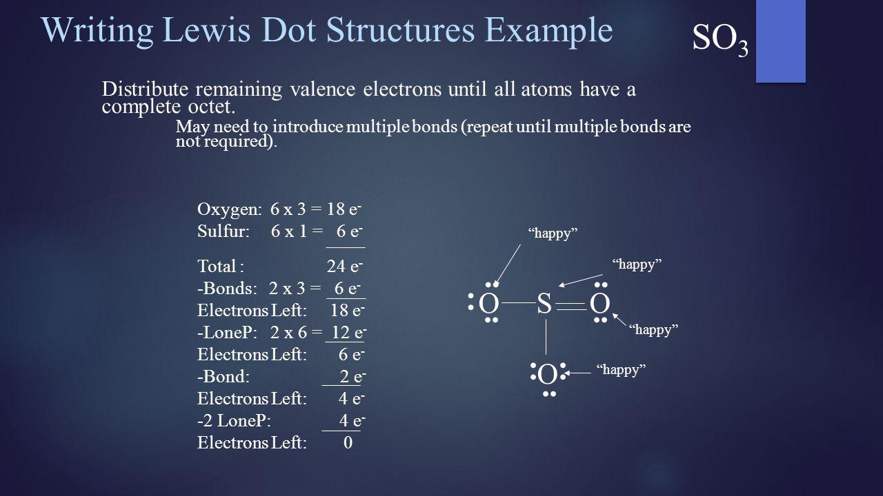 Oxygen: 6 x 3 = 18 e - Sulfur: 6 x 1 = 6 e - Total : 24 e - -Bonds: 2 x 3 = 6 e - Electrons Left: 18 e - -LoneP: 2 x 6 = 12 e - Electrons Left: 6 e -