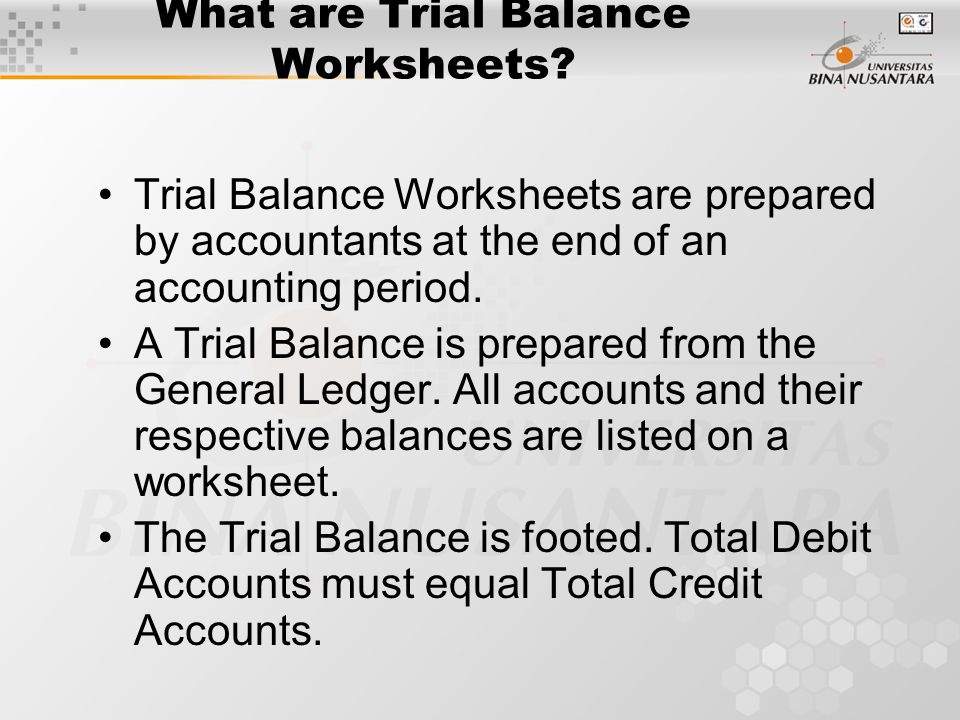What are Trial Balance Worksheets.