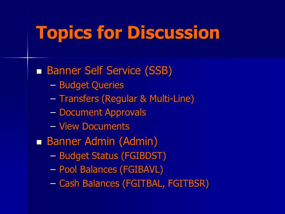 Topics for Discussion Banner Self Service (SSB) Banner Self Service (SSB) –Budget Queries –Transfers (Regular & Multi-Line) –Document Approvals –View Documents Banner Admin (Admin) Banner Admin (Admin) –Budget Status (FGIBDST) –Pool Balances (FGIBAVL) –Cash Balances (FGITBAL, FGITBSR)
