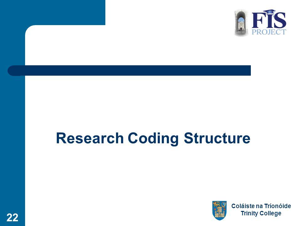 Coláiste na Tríonóide Trinity College Research Coding Structure 22