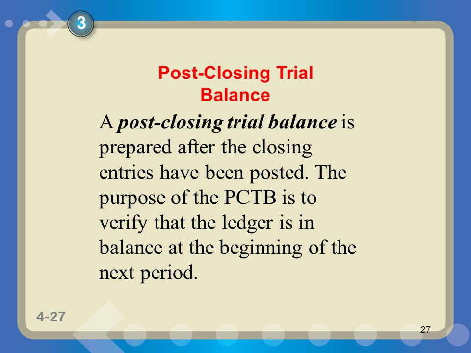 1-27 4-27 27 A post-closing trial balance is prepared after the closing entries have been posted.