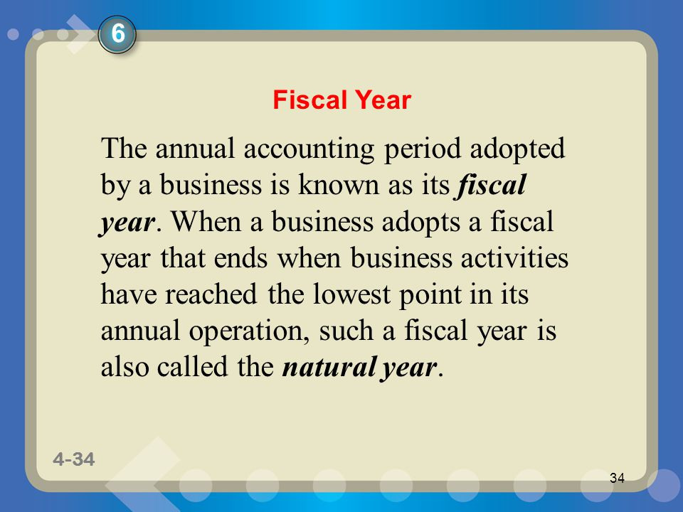 1-34 4-34 34 The annual accounting period adopted by a business is known as its fiscal year.