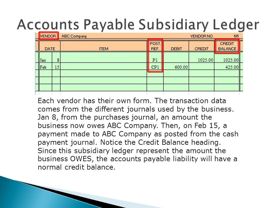 Each vendor has their own form. The transaction data comes from the different journals used by the business. Jan 8, from the purchases journal, an amo