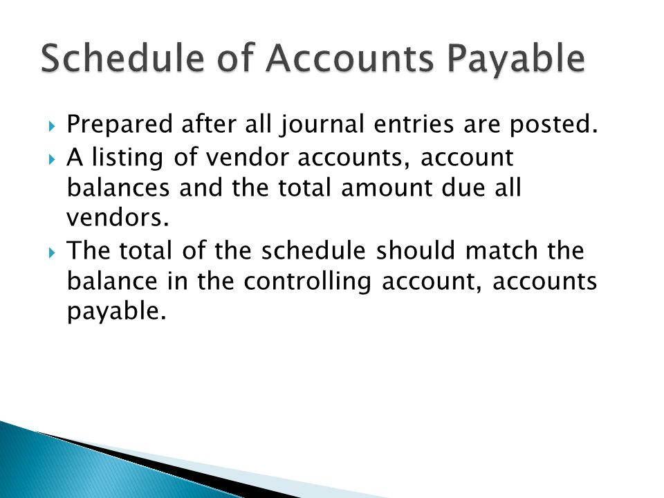  Prepared after all journal entries are posted.  A listing of vendor accounts, account balances and the total amount due all vendors.  The total of