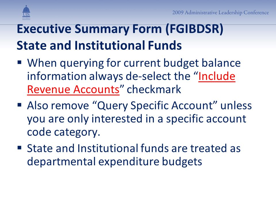 "Executive Summary Form (FGIBDSR) State and Institutional Funds  When querying for current budget balance information always de-select the ""Include Re"
