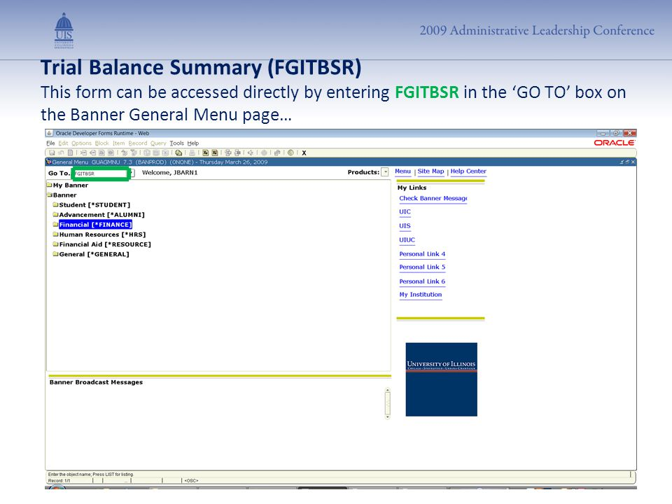 Trial Balance Summary (FGITBSR) This form can be accessed directly by entering FGITBSR in the 'GO TO' box on the Banner General Menu page…