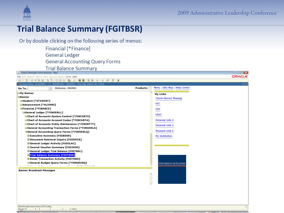 Trial Balance Summary (FGITBSR) Or by double clicking on the following series of menus: Financial [*Finance] General Ledger General Accounting Query F