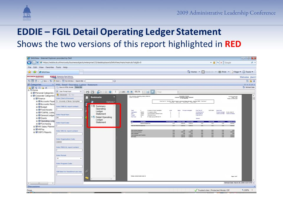 EDDIE – FGIL Detail Operating Ledger Statement Shows the two versions of this report highlighted in RED
