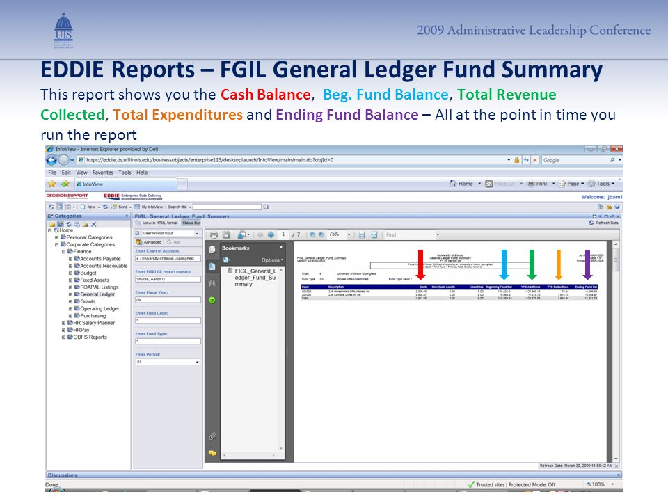 EDDIE Reports – FGIL General Ledger Fund Summary This report shows you the Cash Balance, Beg. Fund Balance, Total Revenue Collected, Total Expenditure