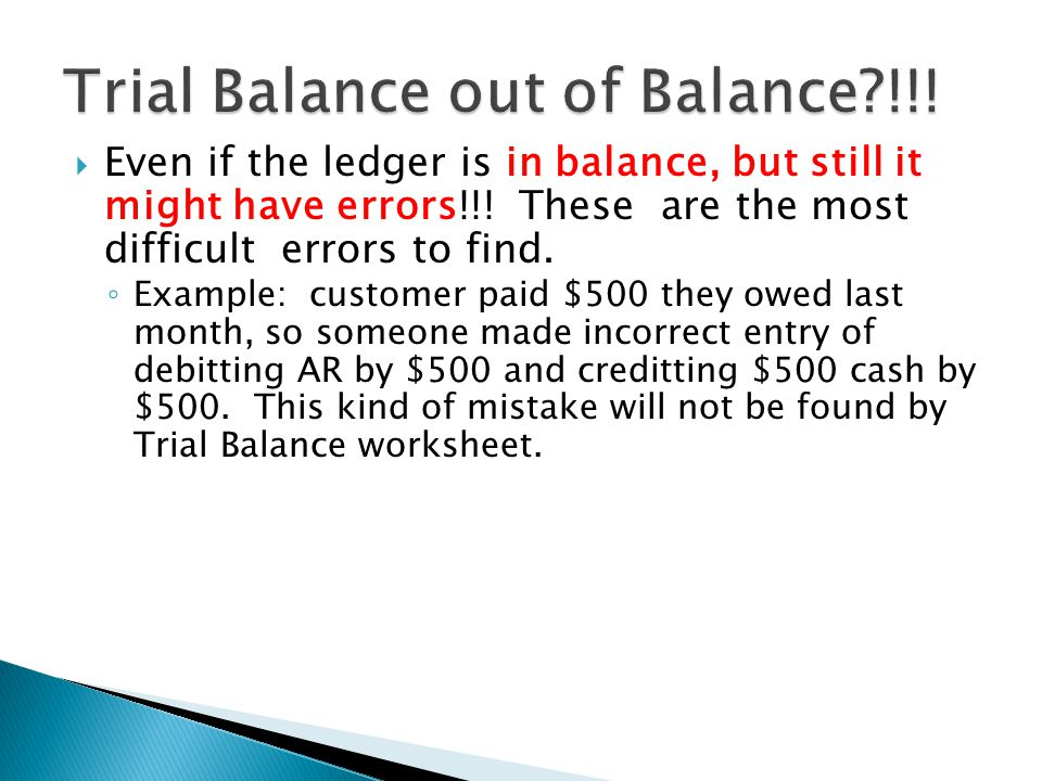  Even if the ledger is in balance, but still it might have errors!!.
