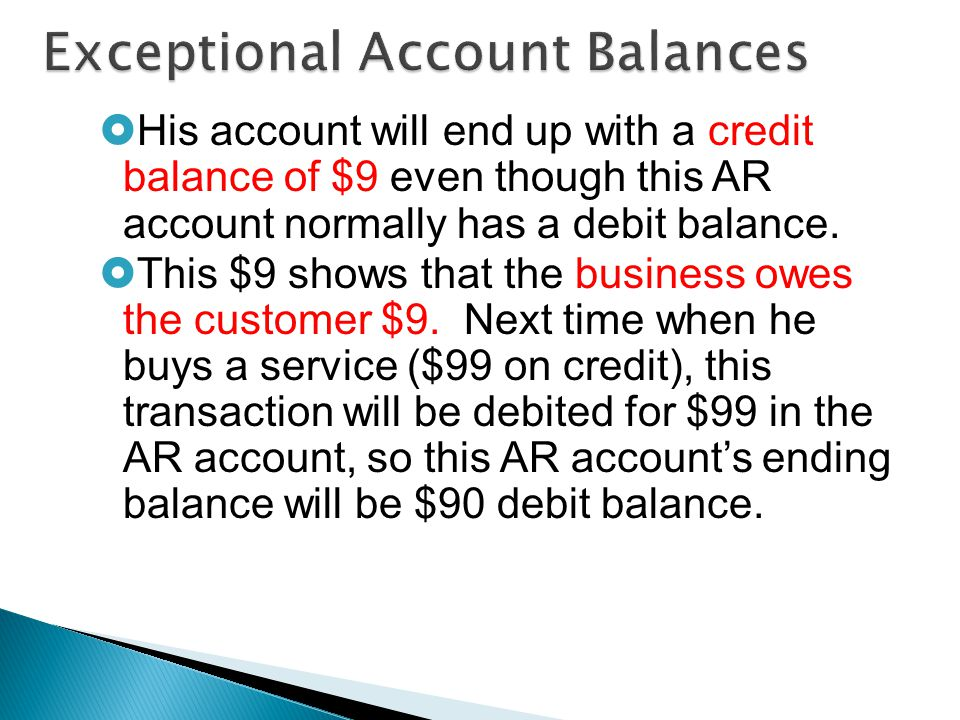  His account will end up with a credit balance of $9 even though this AR account normally has a debit balance.