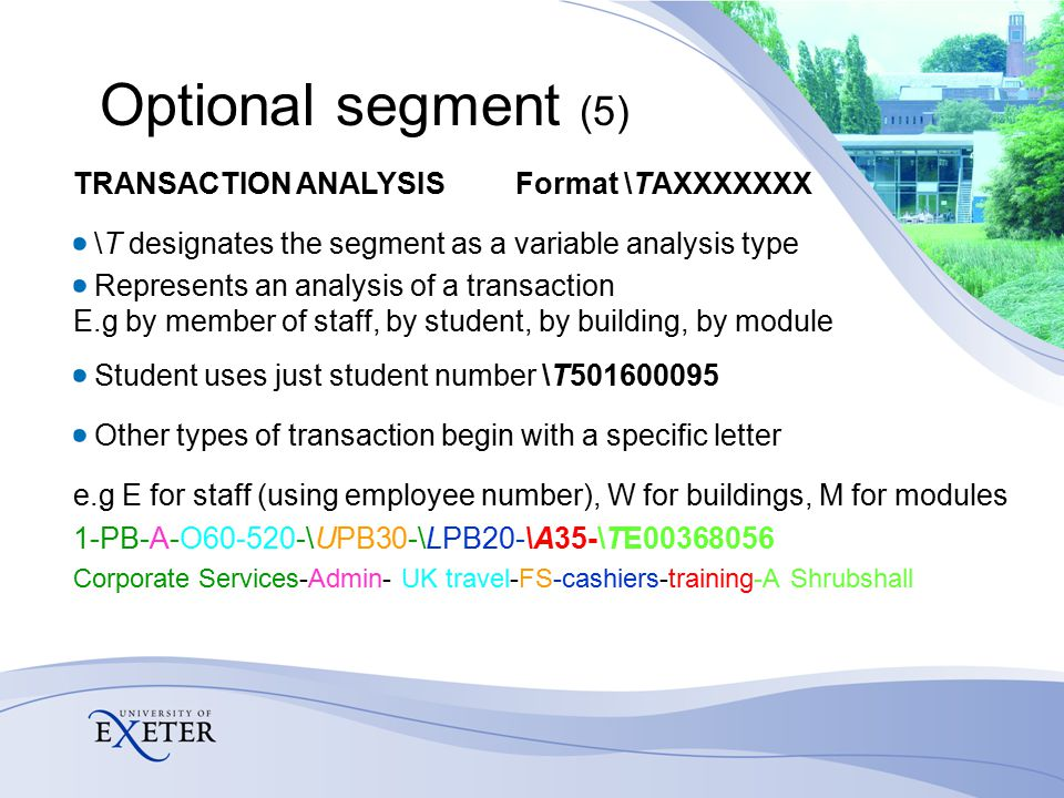 Optional segment (5) TRANSACTION ANALYSIS Format \TAXXXXXXX \T designates the segment as a variable analysis type Represents an analysis of a transaction E.g by member of staff, by student, by building, by module Student uses just student number \T501600095 Other types of transaction begin with a specific letter e.g E for staff (using employee number), W for buildings, M for modules 1-PB-A-O60-520-\UPB30-\LPB20-\A35-\TE00368056 Corporate Services-Admin- UK travel-FS-cashiers-training-A Shrubshall