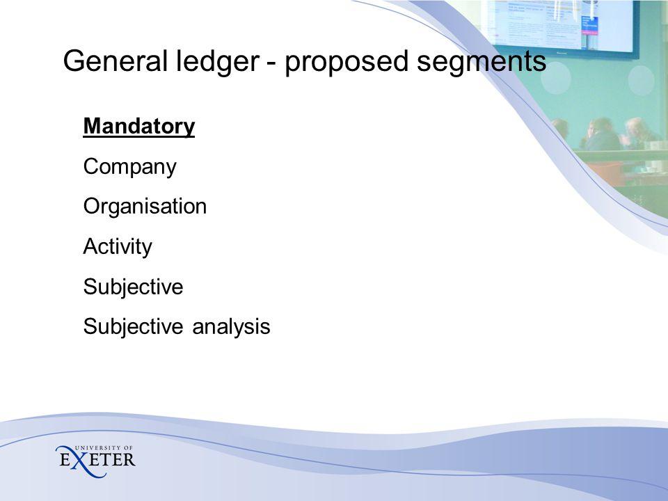 General ledger - proposed segments Optional Budget unit Sub-unit Activity Analysis Project analysis Transaction analysis